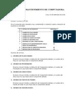 Cotizacion de Mant. de Pc