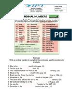 Worksheet  ordinal number