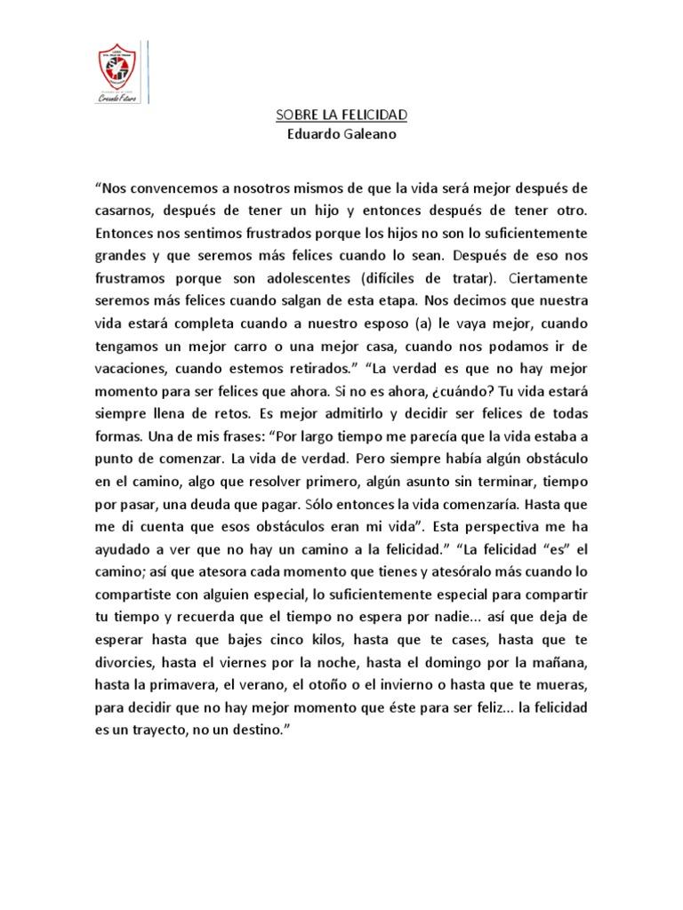 Sobre La Felicidad De Galeano
