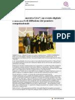 """""""Coding immersivo live"""", un evento digitale e interattivo di diffusione del pensiero computazionale - Il Paese Nuovo.it, 21 marzo 2018"""