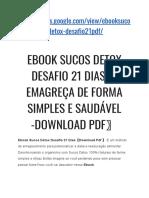 Ebook Sucos Detox Desafio 21 Dias〖Emagreça de Forma Simples e Saudável-Download Pdf〗