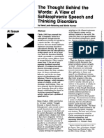 The Thought Behind the Words. a View of Schizophrenic Speech and Thinking Disorders