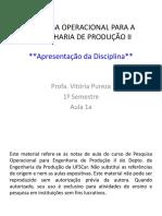 PO II - Aula 1a - Apresentação Da Disciplina