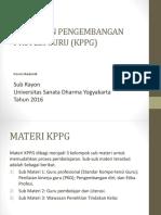 Kebijakan Pengembangan Profesi Guru (Kppg) 2016