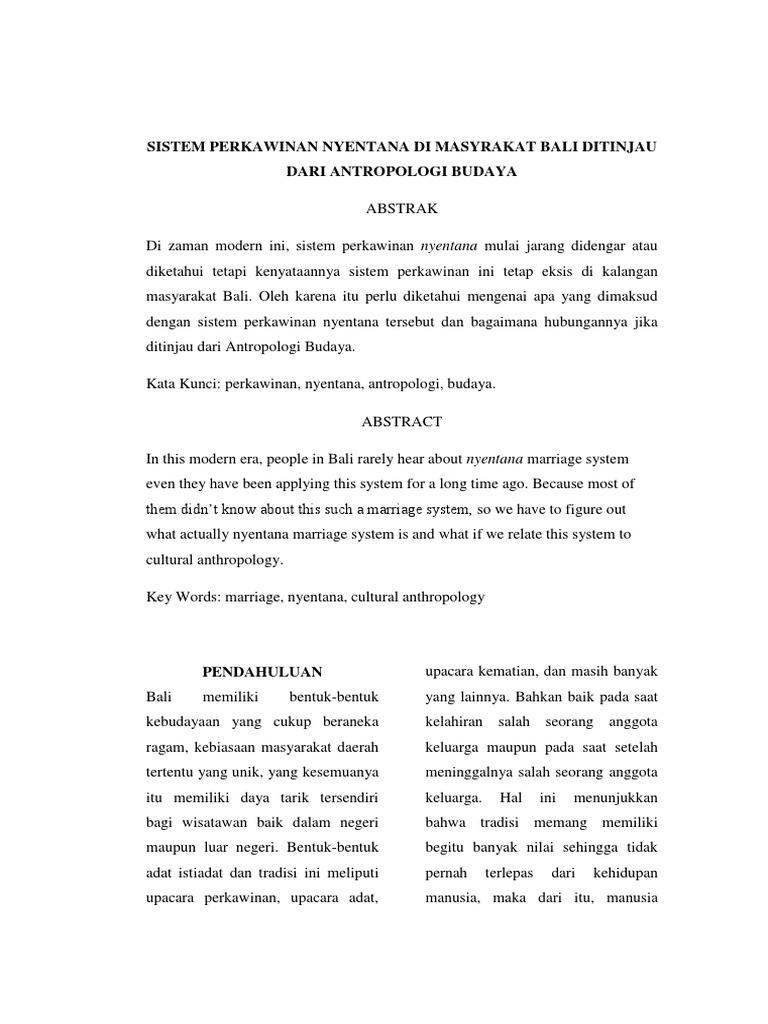 Sistem Perkawinan Nyentana Di Masyrakat Bali Ditinjau Dari Antropologi Budaya - Perkawinan Nyentana, Perkawinan Nyentana