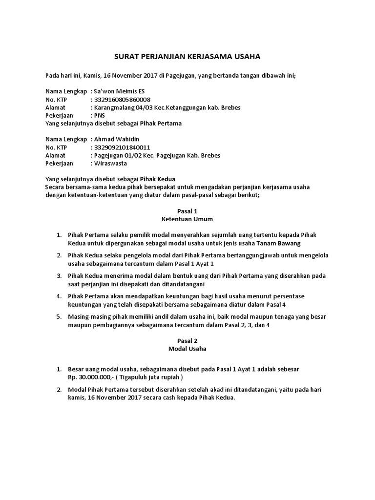 Surat Perjanjian Kerjasama Usaha Autosaved