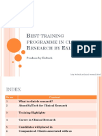 Best training programme in clinical Research by Exltech