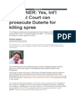 Yes, Int'l Criminal Court Can Prosecute Duterte for Killing Spree