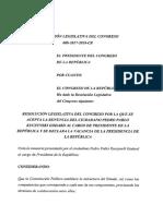 Texto preliminar del Congreso aceptando la renuncia de PPK