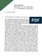 Le Credo Philosophique de Claude Bernard Et Son Discours de Réception à l'Académie Française
