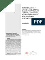 MOȘTENIREA VACANTĂ – IMPLICAȚII LA NIVEL EUROPEAN. ATRIBUȚIILE STATULUI ROMÂN ÎN CULEGEREA MOȘTENIRILOR VACANTE CU ELEMENT DE EXTRANEITATE