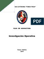 Plan de Asignatura Investigación Operativa Por Competencias