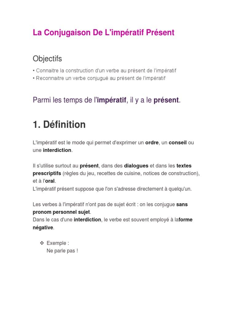 La Conjugaison De L Imperatif Present Verbe Nombre Grammatical