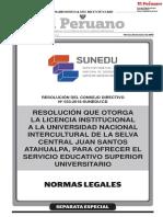 Resolución que otorga la Licencia Institucional a la Universidad Nacional Intercultural de la Selva Central Juan Santos Atahualpa para ofrecer el servicio educativo superior universitario