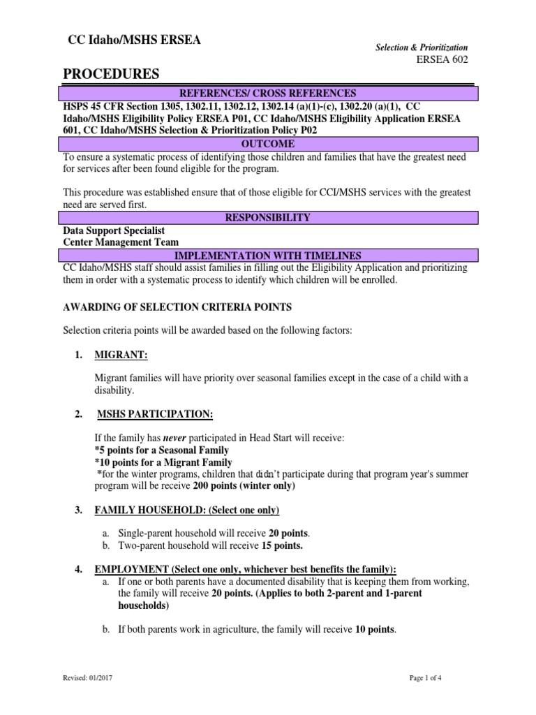 ERSEA 602 Selection & Prioritization pdf | Foster Care