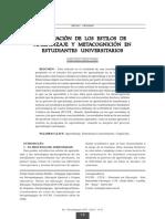 Evaluación de Los Estilos de Aprendizaje y Metacognición en Estudiantes Universitarios