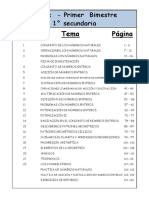 0 - MATEMATICA 1° - BIM I - Indice PRIMERO