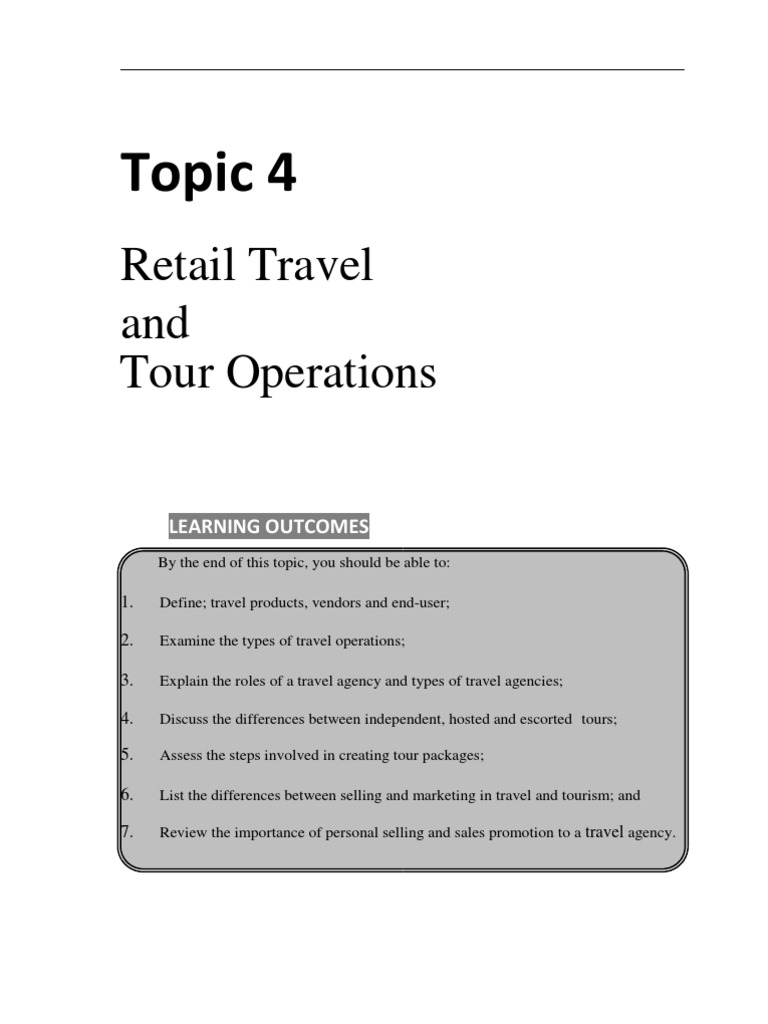 4 Retail Travel and Tour Operations (1) | Travel Agency | Sales