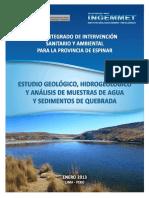 Estudio Geológico Hidrogeológico y Análisis de Muestras de Agua y Sedimentos de Quebrada ESPINAR - InGEMMET