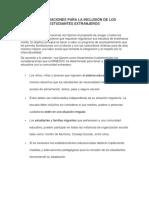 Consideraciones Para La Inclusión de Los Estudiantes Extranjeros