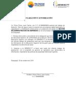 Declaración y Autorización