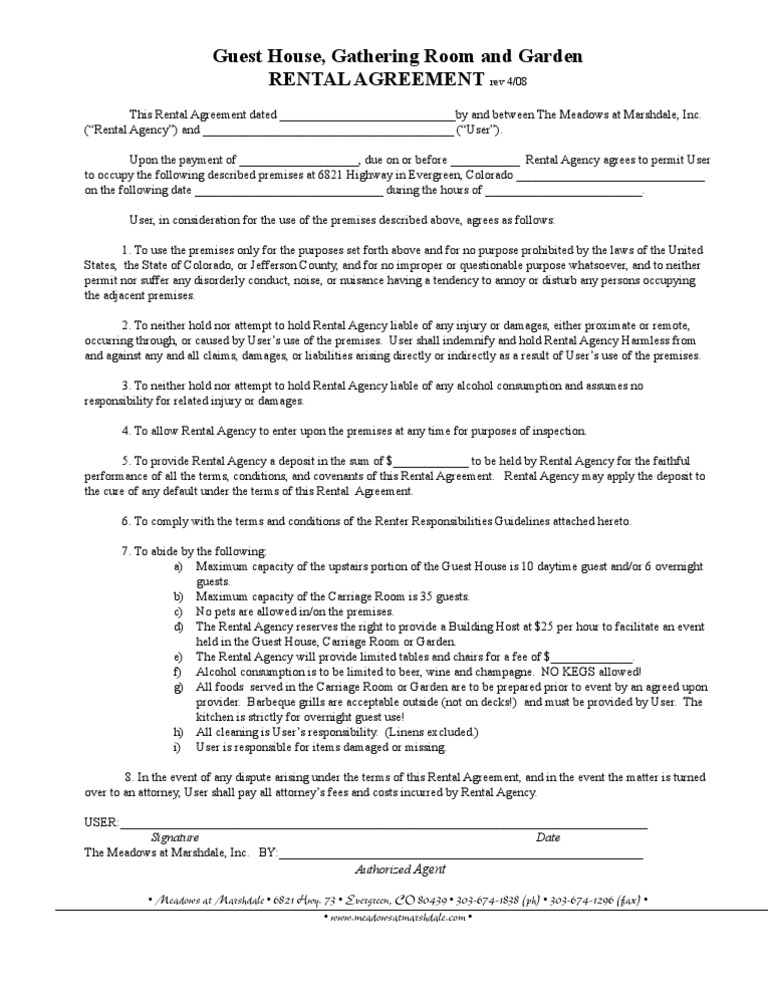 Guest House Rental Agreement  Lease  Damages