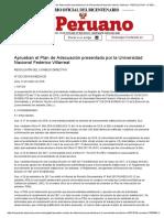 El Peruano - Aprueban el Plan de Adecuación presentado por la Universidad Nacional Federico Villarreal - RESOLUCION - N° 032-2018-SUNEDU_CD - ORGANISMOS TECNICOS ESPECIALIZADOS -
