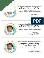 Syukuran Kelahiran Putri Kami