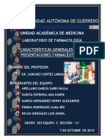 Características Generales de Las Presentaciones Farmacéuticas