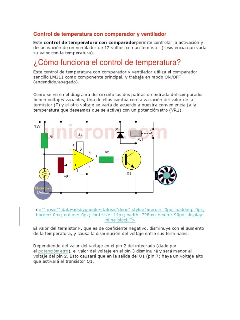 Circuito Ventilador : Control de temperatura con comparador y ventilador