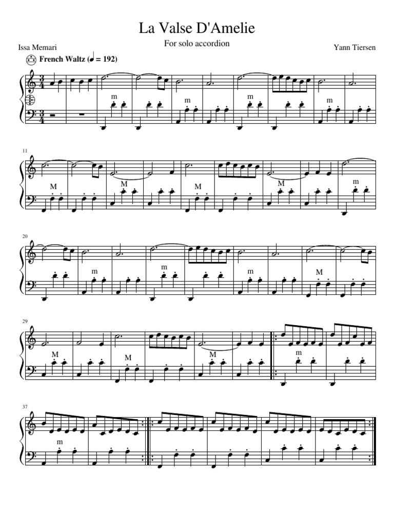 La Valse D'Amelie: For solo accordion