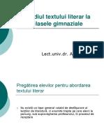 Studiul Textului Literar La Clasele Gimnaziale