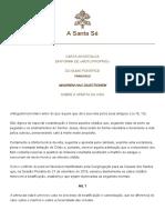 Papa Francesco Lettera AP 20170711 Maiorem Hac Dilectionem