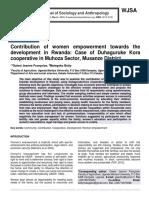 Contribution of women empowerment towards the development in Rwanda