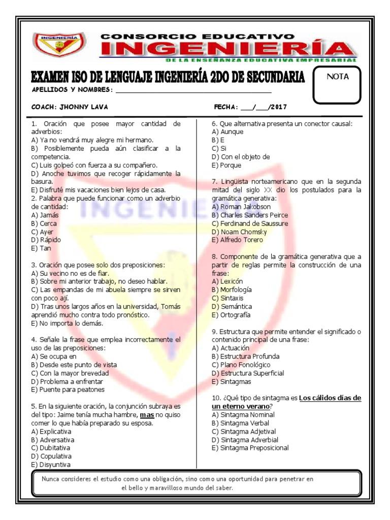 Iso Ingenieria 2017 Lenguaje 2do Sec Adverbio
