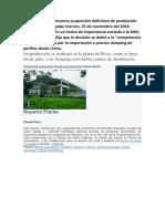 Aceros Arequipa Anuncia Suspensión Definitiva de Producción en Planta de Arequipa Viernes