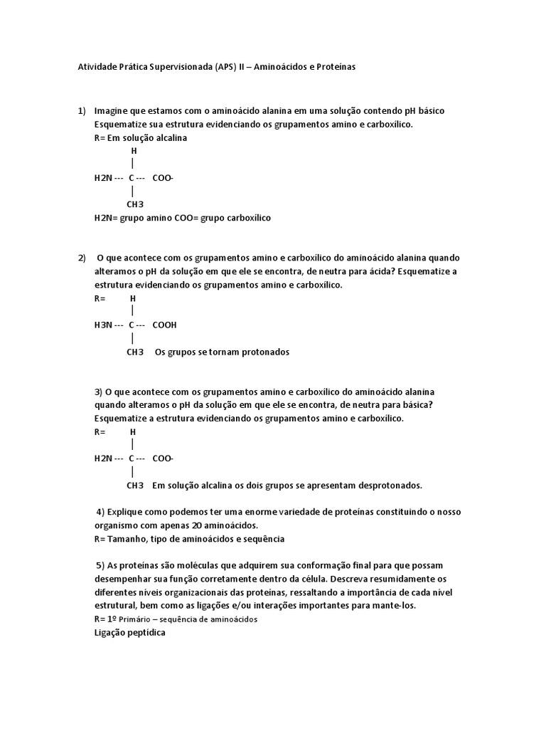 Aps Aminoácidos E Proteinas Docx