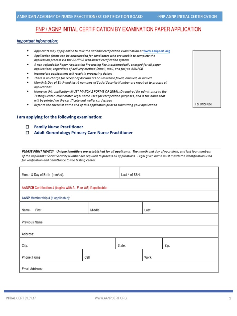 Application For Aanp Certification Exam Nurse Practitioner