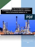 Estudio de pre-factibilidad técnica y económica de la producción de α-Terpineol con el catalizador Amberlyst -15