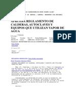 Reglamento de Calderas y Generadores de Vapor Vigente Al 2017
