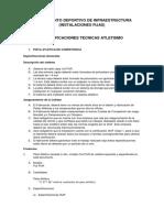 Especificaciones Equipamiento Deportivo de Infraestructura