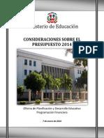 Consideraciones Presupuesto 2014 Ministerio de Educacion