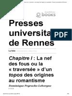 La Folie - Chapitre I_ La Nef Des Fous Ou La «Traversée» d'Un Topos Des Origines Au Romantisme - Presses Universitaires de Rennes
