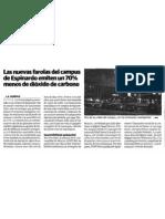 el diario la verdad se hace eco de las luminarias lidolight instaladas en la Universidad de Murcia