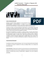 Leccion I Origen y Fuentes Del Derecho Mercantil