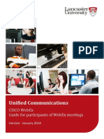 CISCO WebEx Guide for Participants of WebEx Meetings. Unified Communications