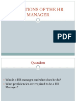 Functions of the Hr Manager