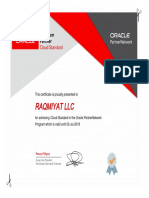 Raqmiyat Oracle Platinum & Cloud Standard Certificate