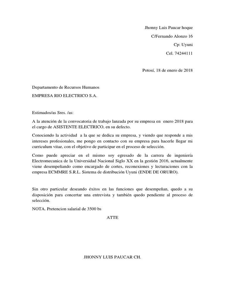 Famoso Carta De Apertura Para Currículum Composición - Ejemplo De ...