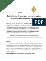 Artigo Versão SISPG Determinação de Chumbo e Cádmio Em Açúcar Comercializados Na Cidade de Recife